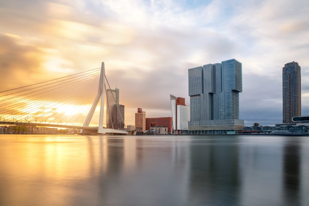 Sightseeing Rotterdam, magnificent view on the skyline.